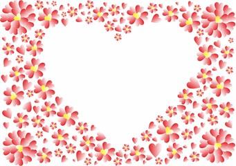 Herz-Rahmen mit roten Herzen und Herz-Blumen