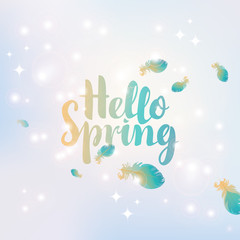 hello spring inscription on an abstract background with highlights and feathers