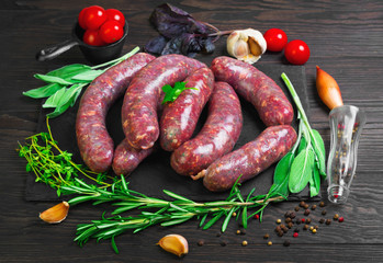 Raw uncooked meat sausages