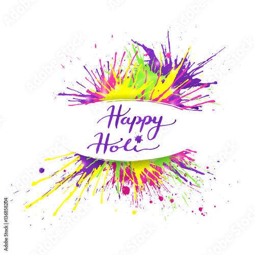 Happy Holi Banner With Bright And Colorful Paint Splashes On White