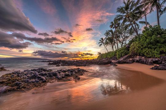 colourful sunset from secret cove, Maui, Hawaii