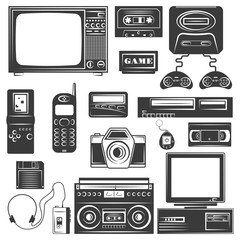 Set of gadget of 90s monochrome icons, design elements isolated on white background