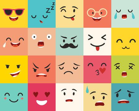 Emoticons vector pattern. Emoji square icons. Cute emoji colorfull illustration. Big set flat cartoon style. Face  funny backgound