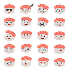 Sashimi emoji vector set. Emoji sushi with faces icons. Sushi roll funny stickers. Food, cartoon style. Vector illustration isolated on white background