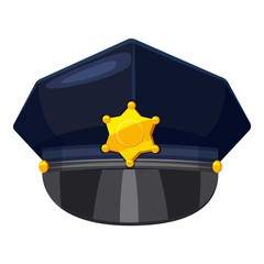 Police cap icon, cartoon style