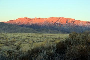 Sun setting on the Sandias in Albuquerque