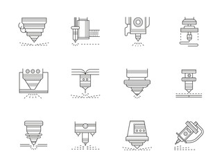 Industrial lasers flat line vector icons set
