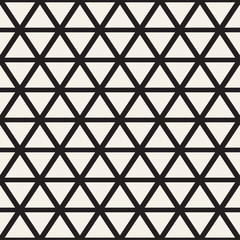 Stylish Minimalistic Triangle Shape Lines Grid. Vector Seamless Black and White Pattern.