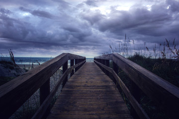 Beach entrance on a cloudy day
