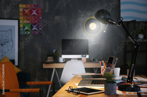 Modern Interior Of Designer Workplace Stock Photo And Royalty Free