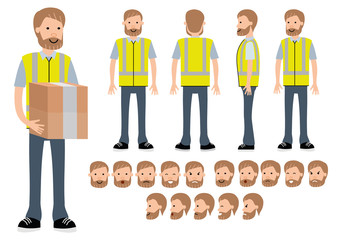 The warehouse worker. Character constructor for different poses. Set of various poses and emotions. Cartoon vector flat-style illustration