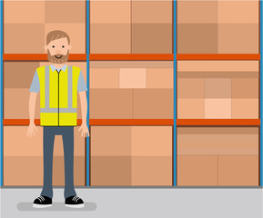 The warehouse worker. he warehouse worker on the background of the display rack with boxes. Cartoon vector flat-style illustration.