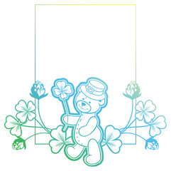Gradient frame with shamrock and cute teddy bear. Raster clip art.