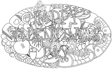 Hand drawn doodles happy valentines day with elements background