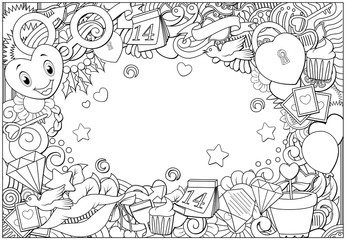 Hand drawn doodles happy valentines day frame background
