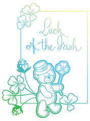 Contour color gradient frame with shamrock, teddy bear.  Raster clip art.