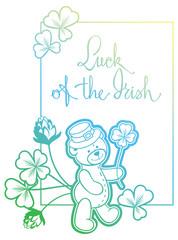 Contour color gradient frame with shamrock, teddy bear.  Raster clip art.
