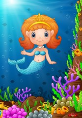 Cartoon funny little mermaid under the sea