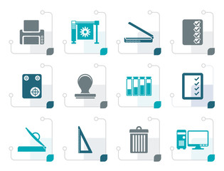 Stylized Print industry Icons - Vector icon set