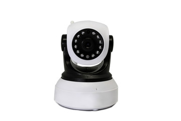 The CCTV security camera operating in home on white background. IP Camera.