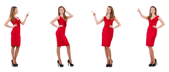 Young woman in red dress isolated on white