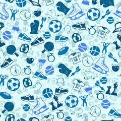 Sketch blue sport seamless vector pattern