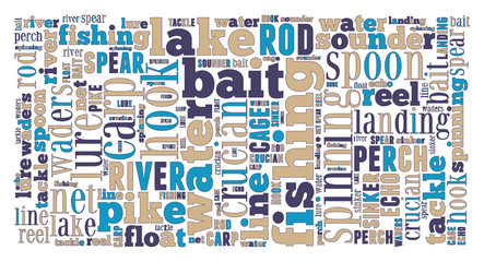 Fishing Tag Cloud    - vector illustration