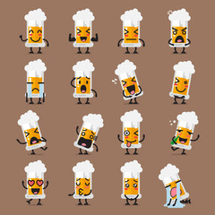 Glass of beer character emoji set
