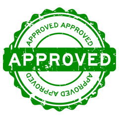 Grunge green approve round rubber seal stamp on white background