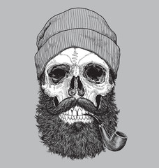 Sailor sea captain hipster skull with pipe