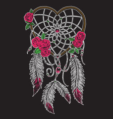 Hand drawn heart shaped dream catcher in full color