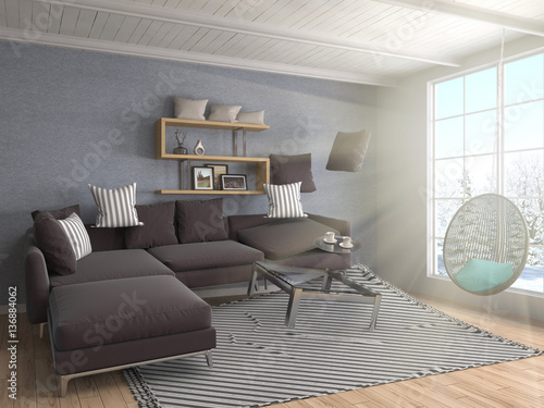 Zero Gravity Furniture Hovering In Living Room 3d Illustration Stock Photo And Royalty Free