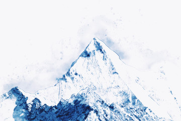 Mountain peak in winter paining in blue tone