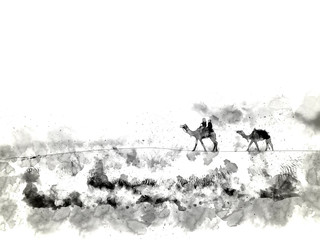 Camels in the desert  watercolor painting