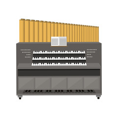 Old electronic piano organ vector illustration.