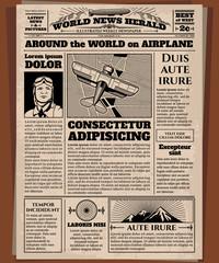 Old newspaper, vintage newsprint vector template