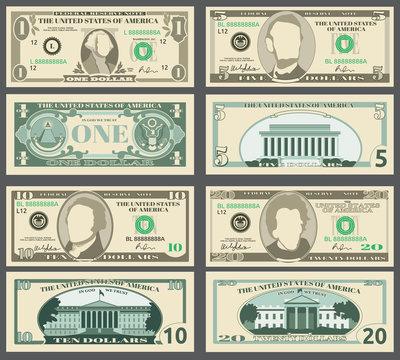 Dollar banknotes, us currency money bills vector set.