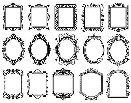 Vintage victorian, baroque, rococo frame for mirror, menu, card design vector collection