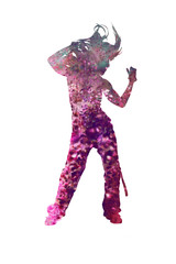 Dancing girl in the double exposure