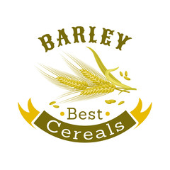 Barley grain badge for food packaging design