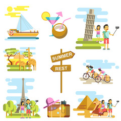 Summer vacation and travel adventure vector templates