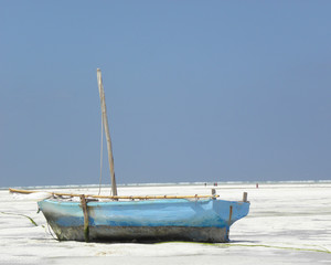 Blue Boat on Sandy Beach