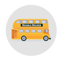 Vector double decker bus england icon illustration yellow
