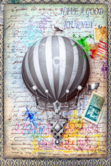 Collage with hot air balloon and old stamps