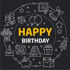 Vector linear illustration dark background happy birthday