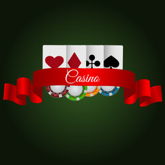 Illustartion green casino background  chip and card with ribbon