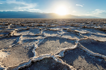 Foto auf Acrylglas Naturpark Sunset over Badwater basin, Death Valley National Park, California.