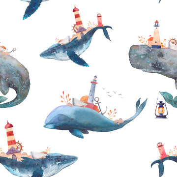 Watercolor creative whales seamless pattern. Hand painted fantasy texture with blue sea whale, cachalot, lighthouse, anchor, plants, wheel, old boat, stones on white background.