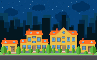 Vector night city with cartoon houses and buildings with green trees and shrubs. City space with road on flat style background concept. Summer urban landscape.