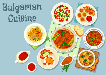 Bulgarian cuisine savory dishes icon design